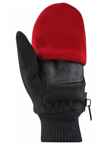 Black & Red 2-Pack Men's Convertible Fingerless Gloves With Mitten Cover