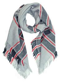 Gray Black & White Blanket Scarf Wrap 2 Pack