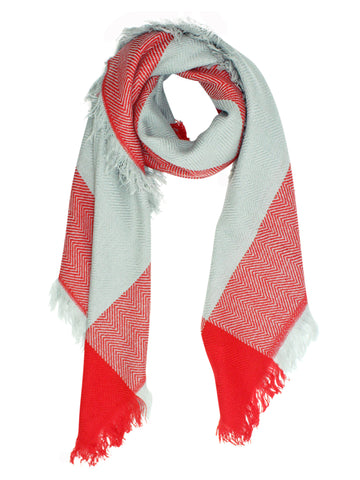 Gray & Red Oversized Plaid Blanket Scarf