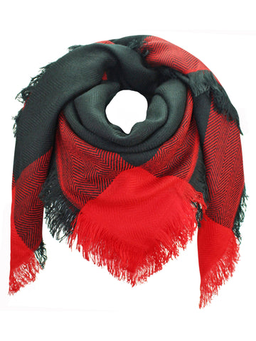 Black & Red Oversized Plaid Blanket Scarf