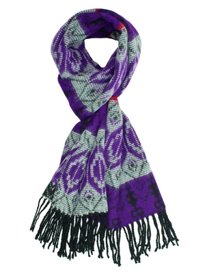 Purple Tribal Print Cashmere Feel Unisex Scarf