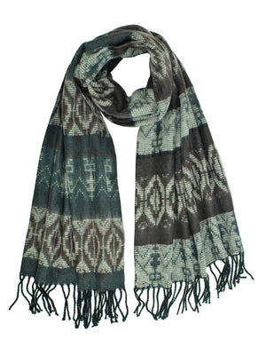 Green Tribal Print Cashmere Feel Unisex Scarf
