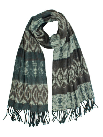 Tribal Print Cashmere Feel Unisex Scarf With Fringe