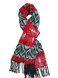 Red Tribal Print Cashmere Feel Unisex Scarf