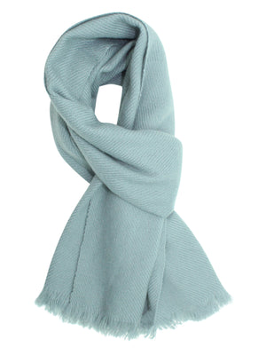 Gray Cashmere Feel Knit Scarf With Fringe