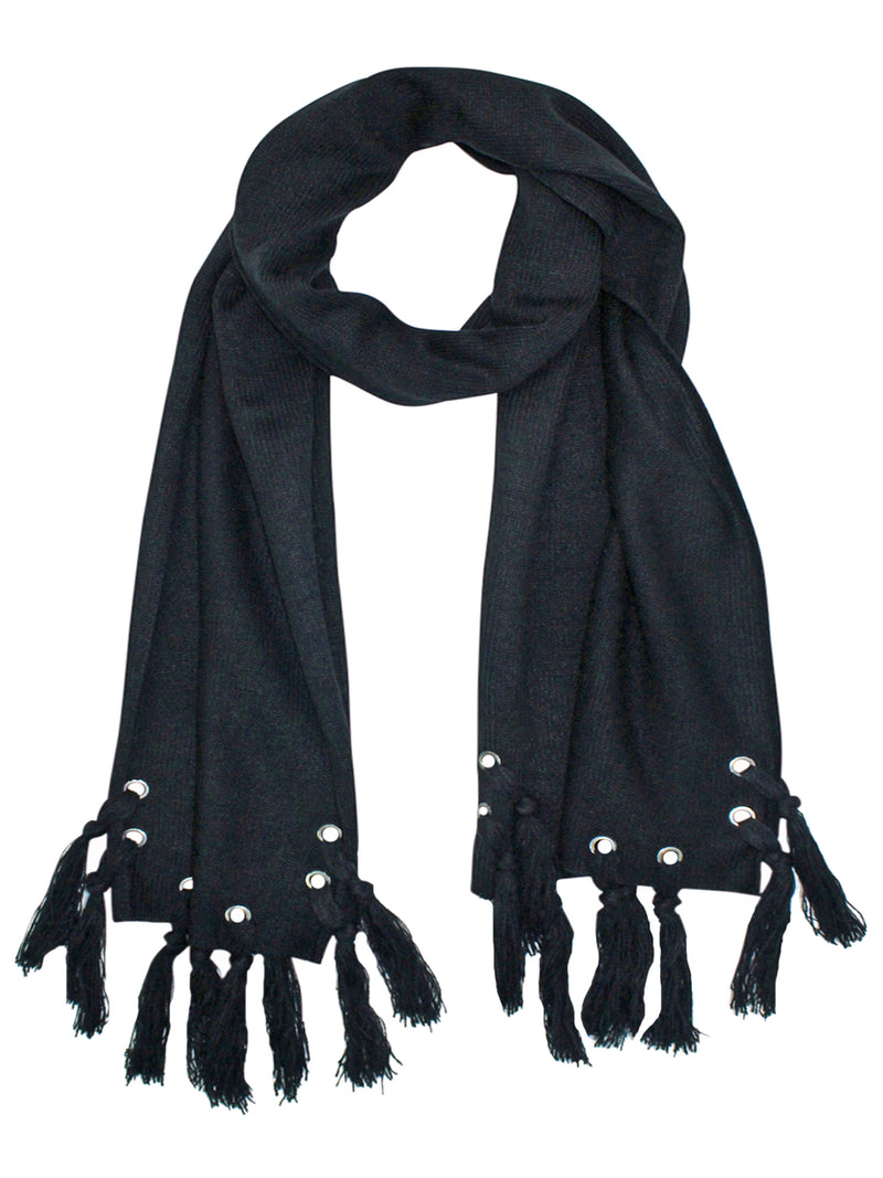 Black Scarf With Grommets & Tassels
