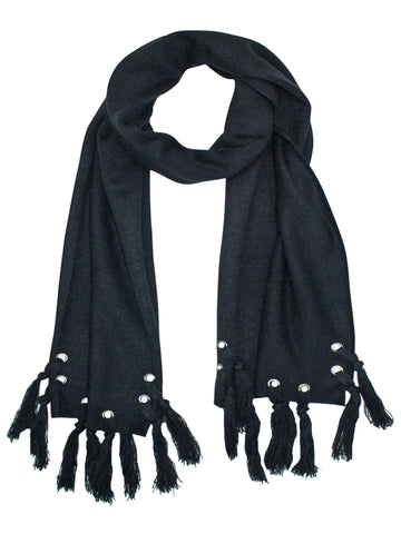 Unisex Winter Scarf With Grommets & Tassels
