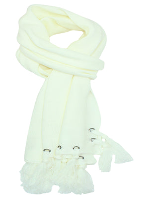 Ivory Scarf With Grommets & Tassels