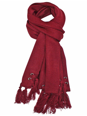 Burgundy Scarf With Grommets & Tassels
