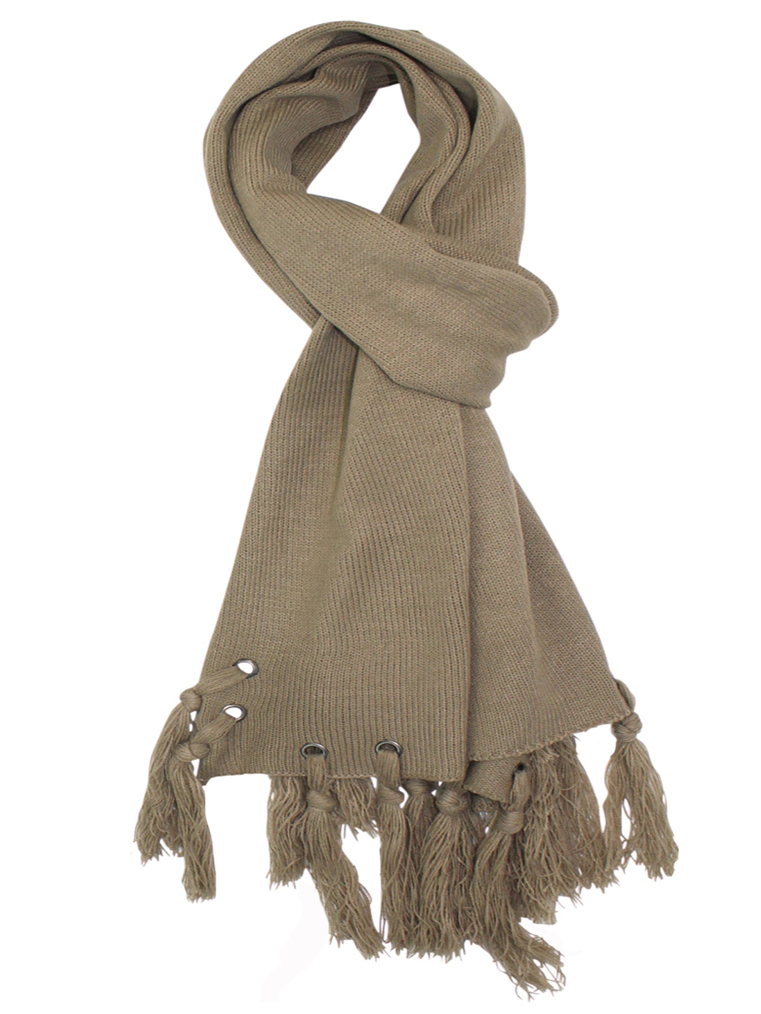 Taupe Scarf With Grommets & Tassels
