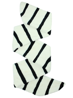 White & Black Striped Faux Fur Stole Scarf