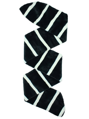 Black & White Striped Faux Fur Stole Scarf