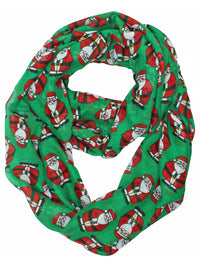 Green & Red Chubby Santa Christmas Infinity Scarf