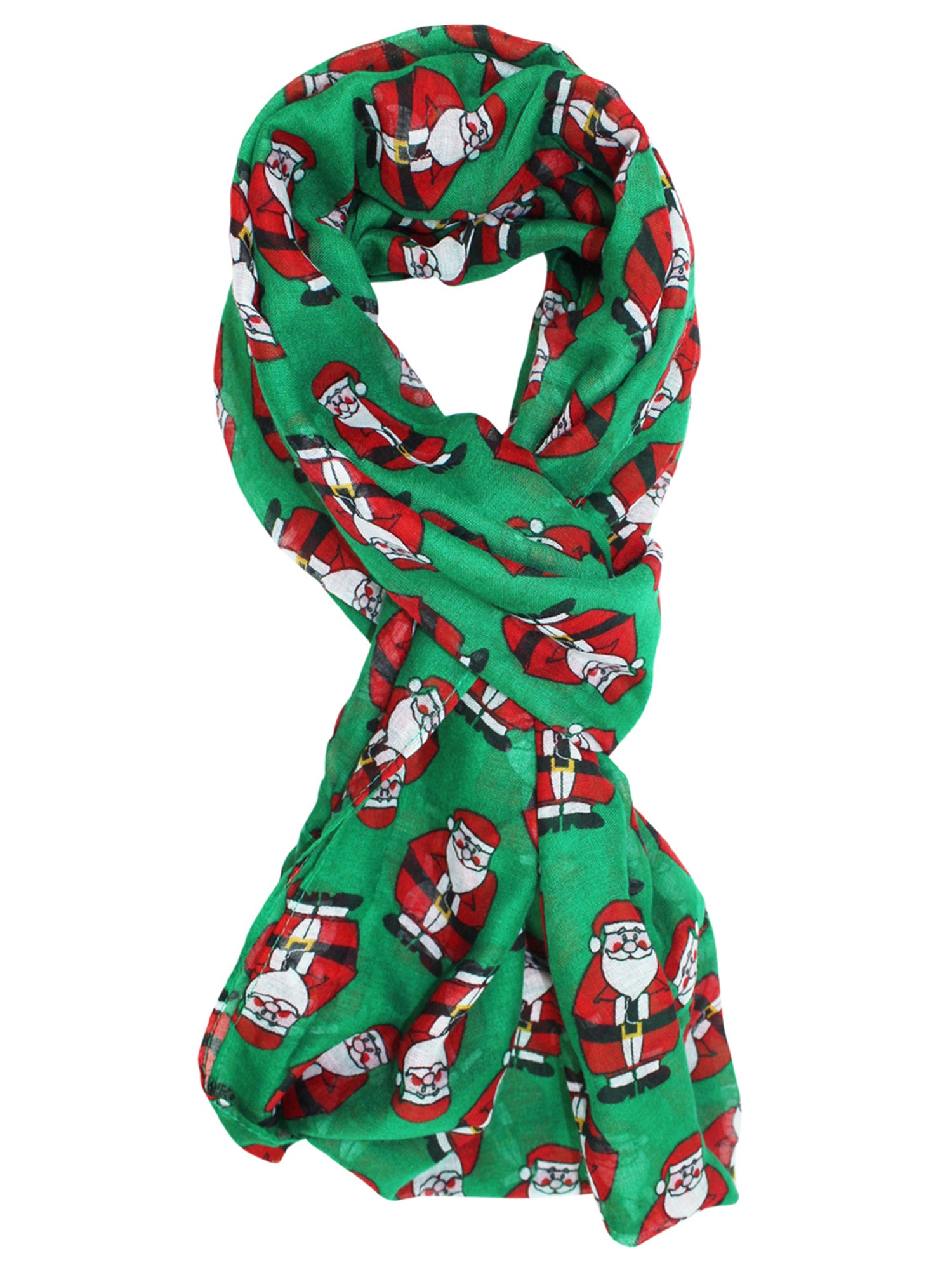 green red chubby santa christmas infinity scarf