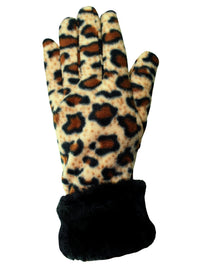 Leopard Print Fleece Hat Scarf & Gloves Set