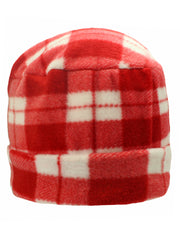 Red Plaid Fleece 3 Piece Hat Scarf & Glove Set