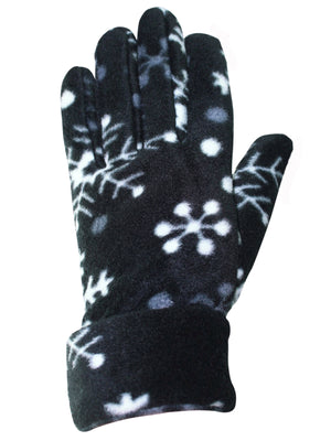 Black & White Snowflake Hat Scarf & Gloves Set