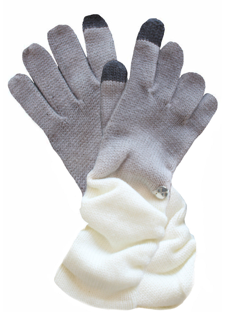 Gray & White Knit Ombre Texting Gloves & Scarf Set