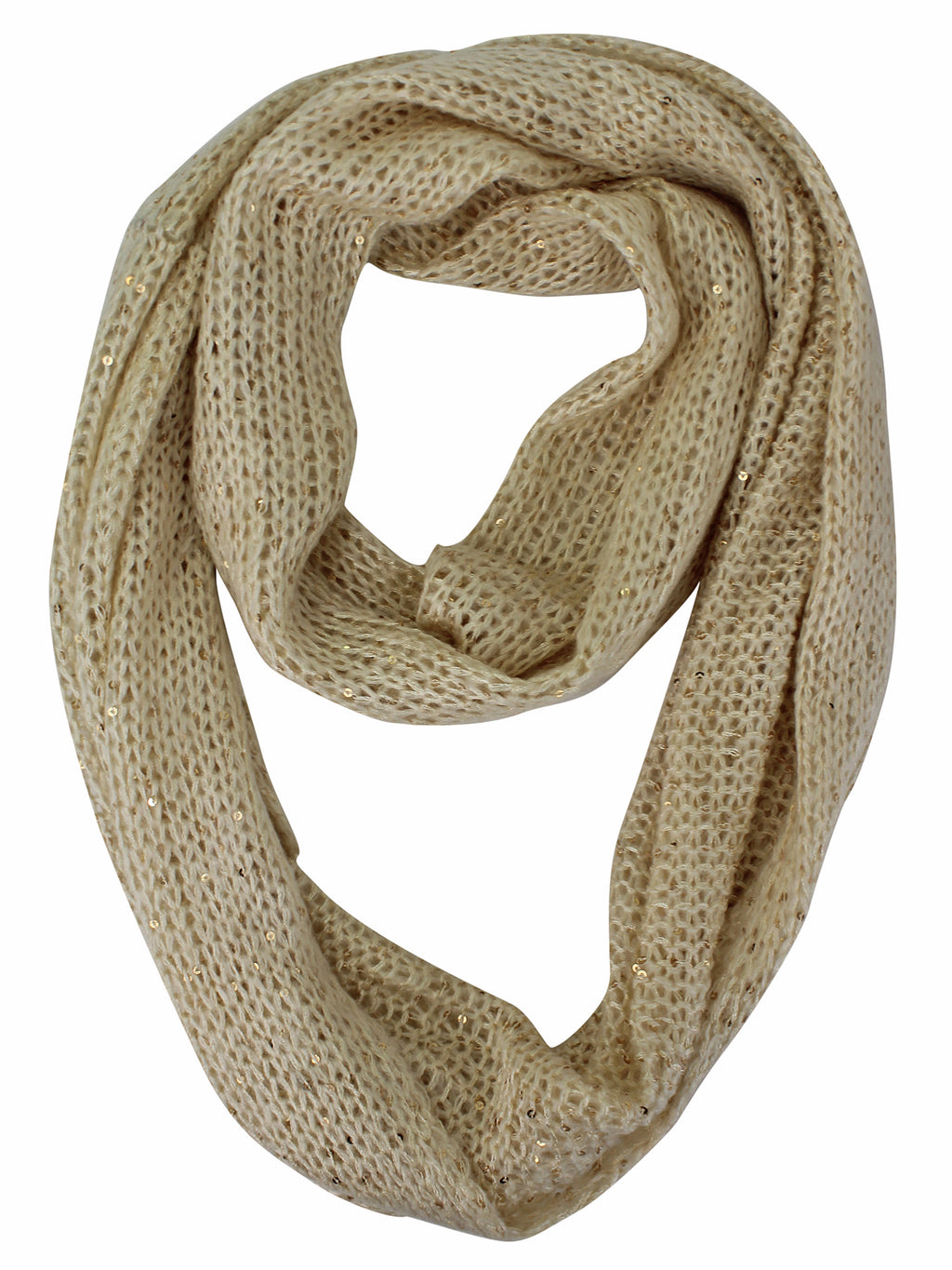 Beige Open Knit Sequin Specked Circle Scarf