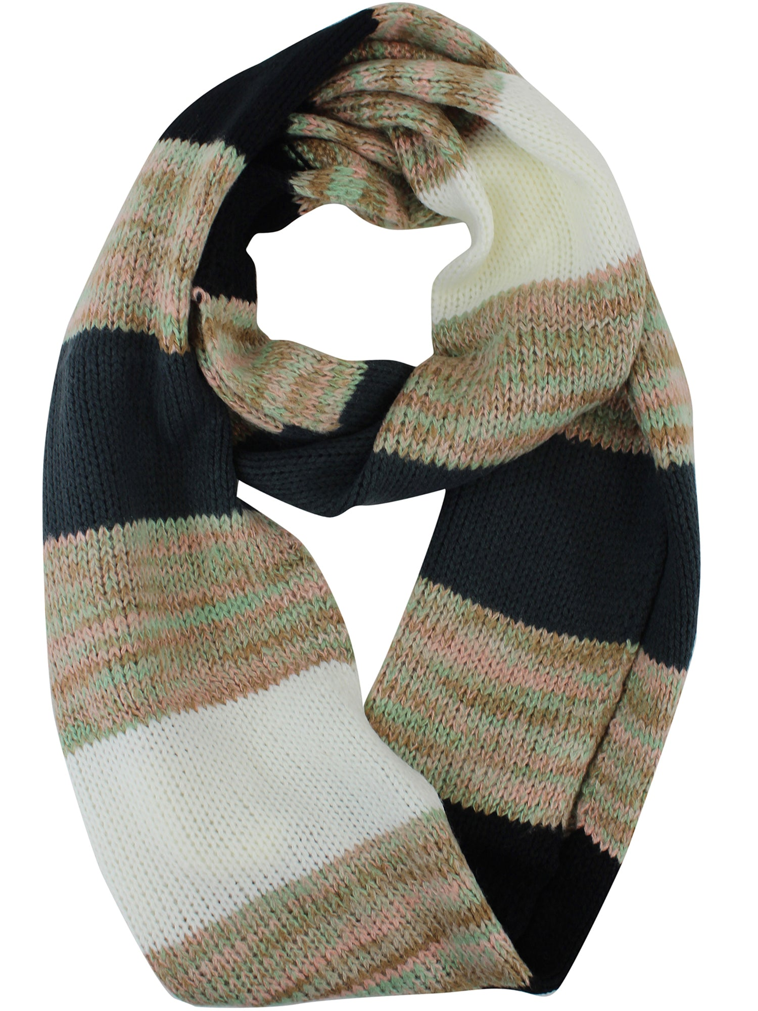 White Multicolor Knit Infinity Scarf