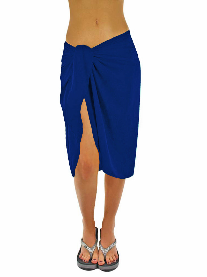 Sheer Island Blue Knee Length Sarong Wrap