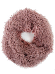 Mauve Faux Fur Cozy Winter Infinity Scarf