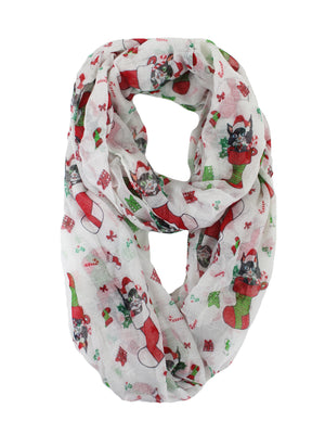 Festive Cat In Stocking Holiday Infinity Scarf