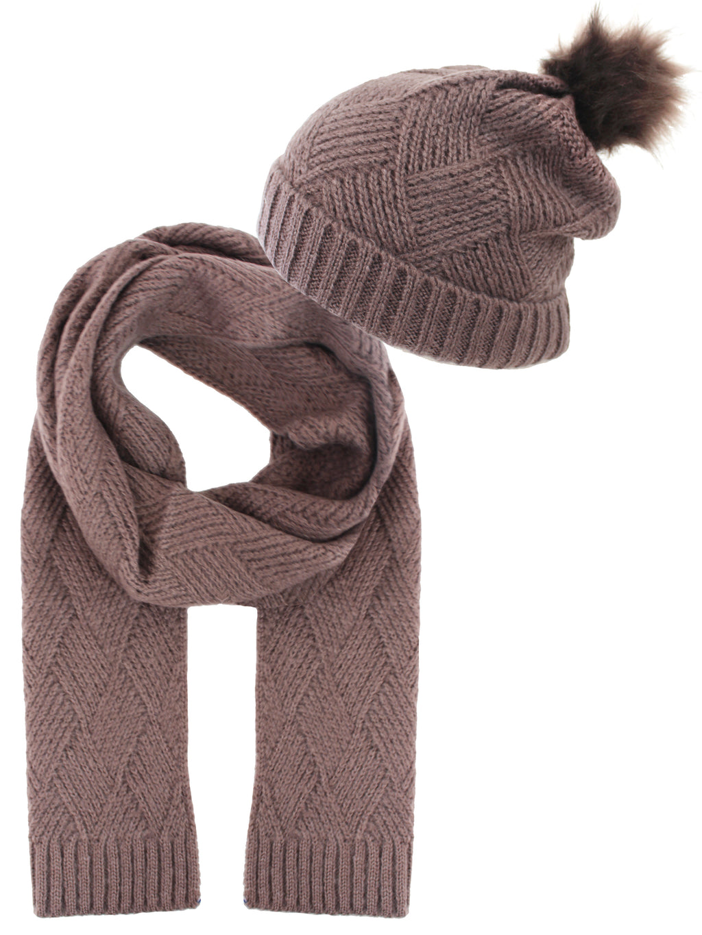 Taupe Knit Beanie Cap Scarf Set With Fur Pom Pom