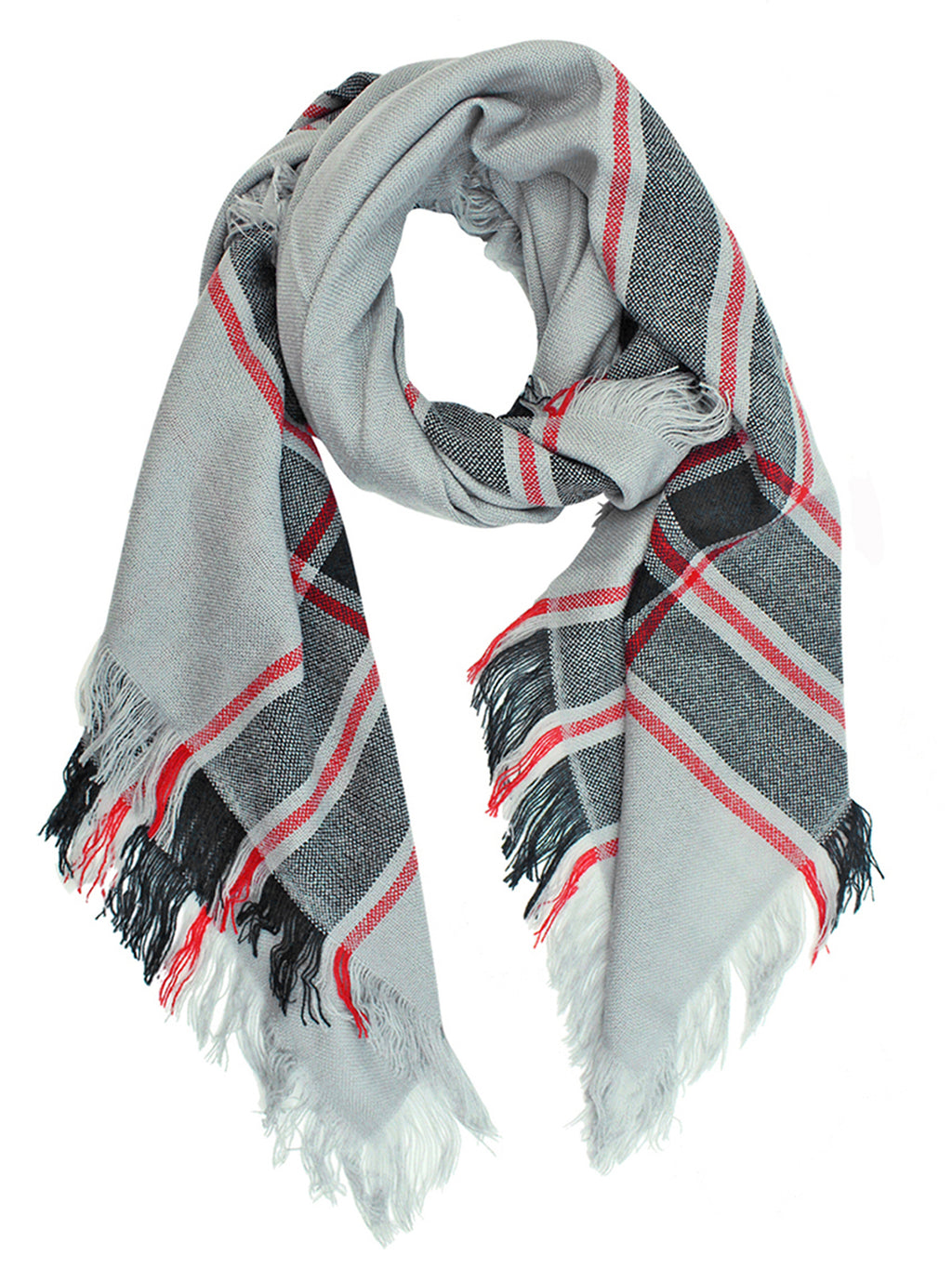 Gray Red And Black Square Plaid Shawl Wrap