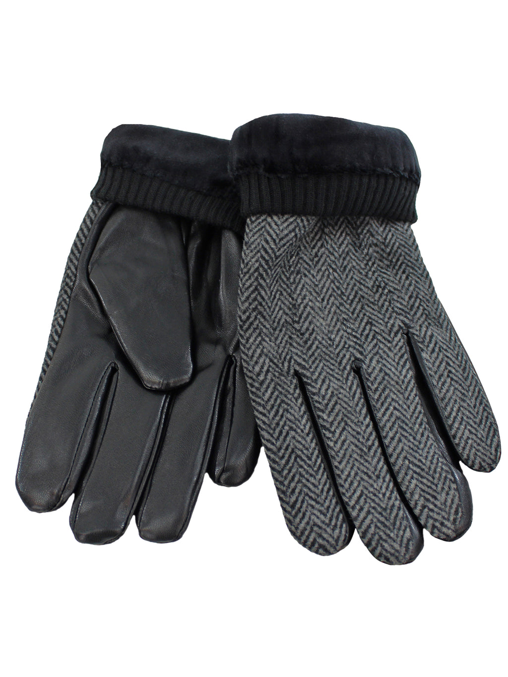 Black Herringbone Pattern Winter Gloves