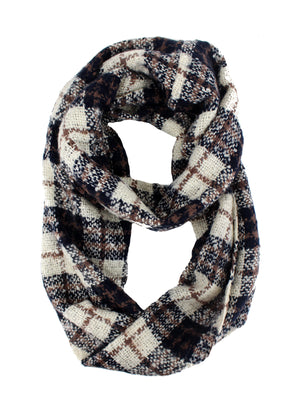 Navy Blue Plaid Circle Infinity Scarf