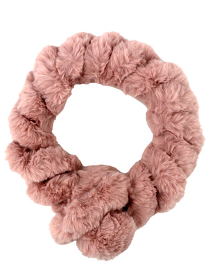 Pink Twisted Faux Fur Pull Thru Scarf