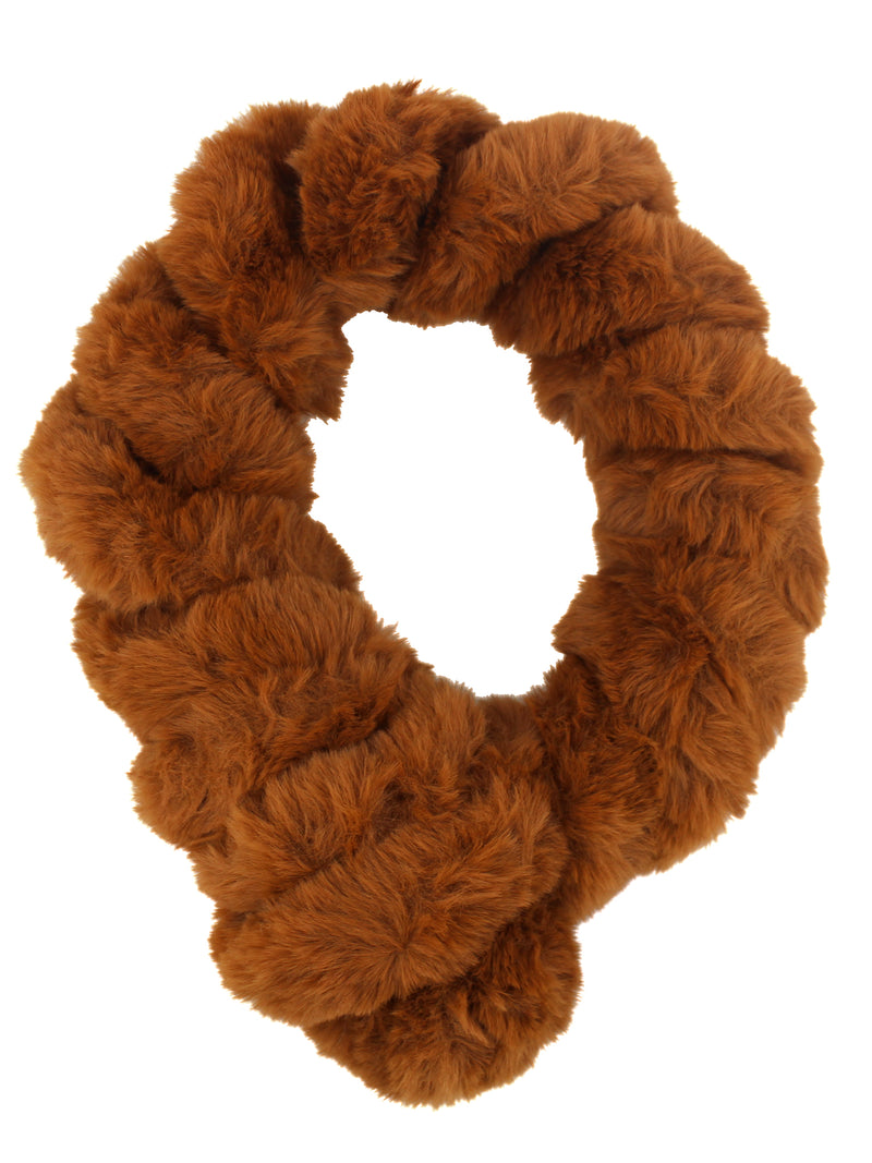 Brown Twisted Faux Fur Pull Thru Scarf