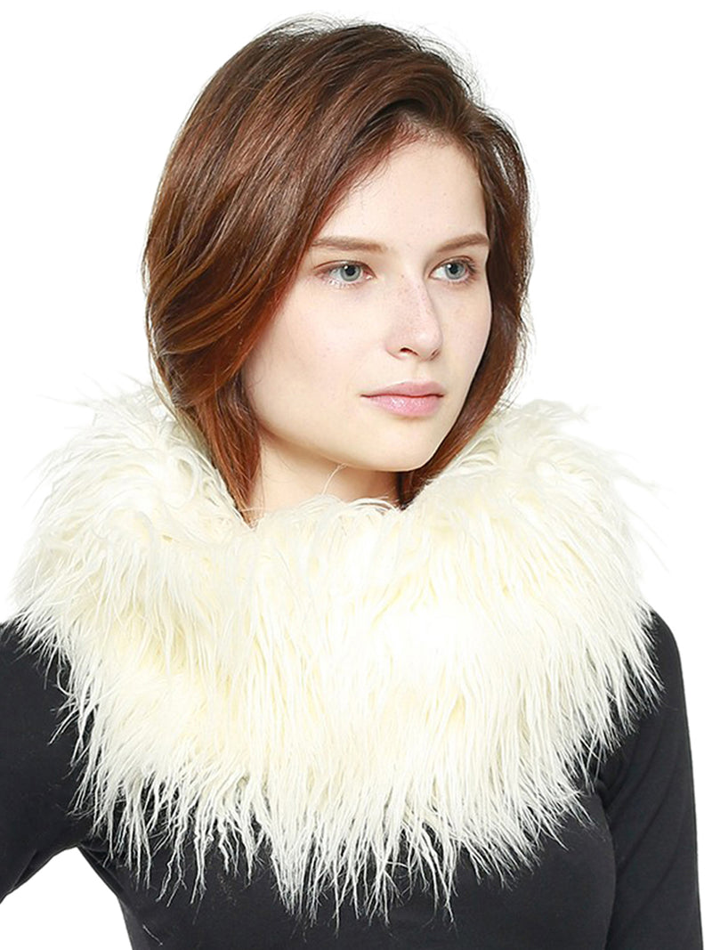 White Ostrich Feather Fur Circle Scarf