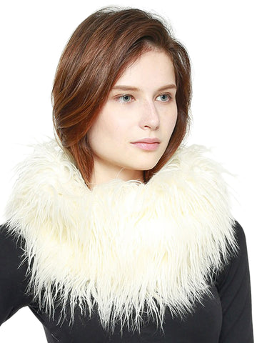 Ostrich Feather Faux Fur Circle Neck Warmer Scarf