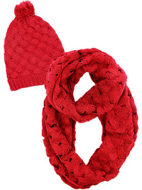Weaved Knit Infinity Scarf And Beanie Hat Set