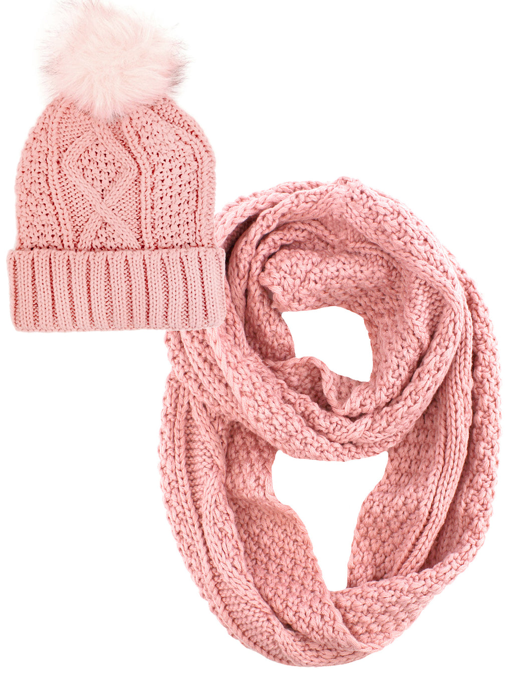 Knit Circle Scarf And Hat Set With Fur Pom Pom