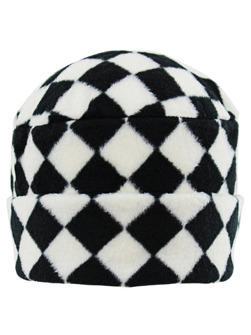 Black and White Checkered Fleece Hat Scarf Gloves Set