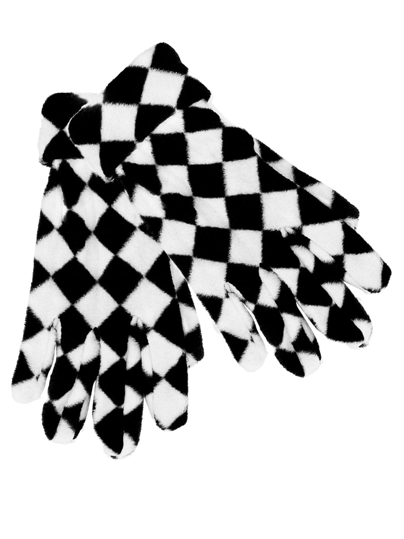 Black And White Checker Fleece Hat Scarf Gloves Set