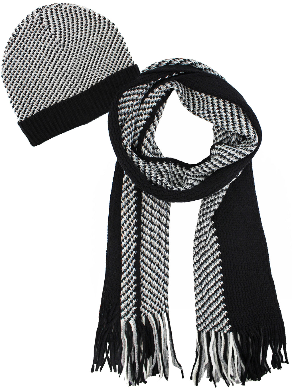 Black And White Hounds Tooth Hat And Scarf Set