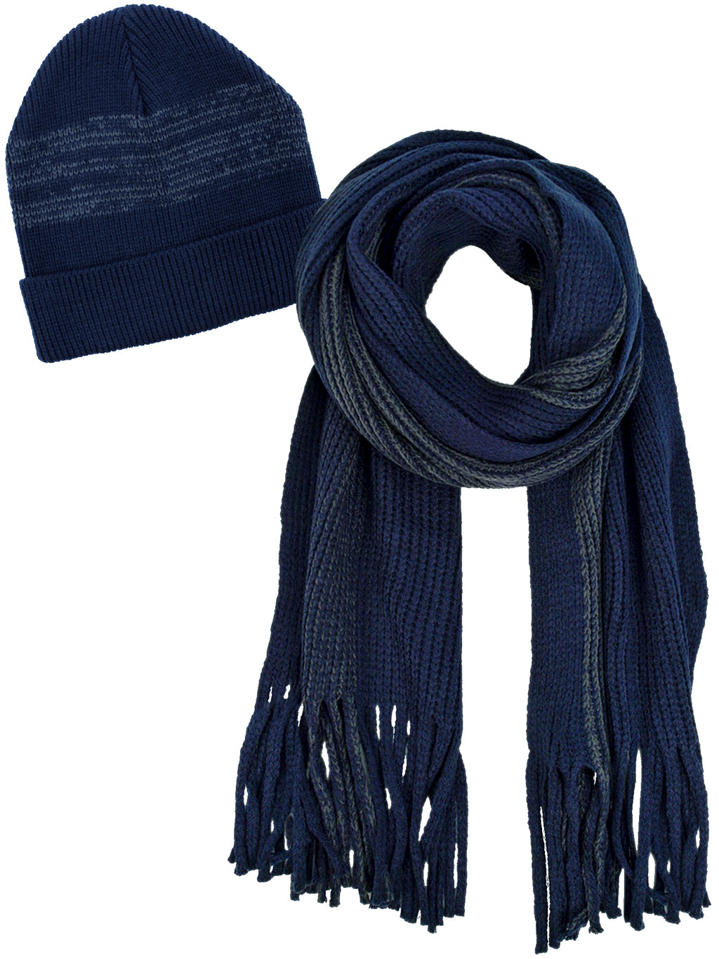 Navy Blue And Gray Knit Hat And Scarf Set