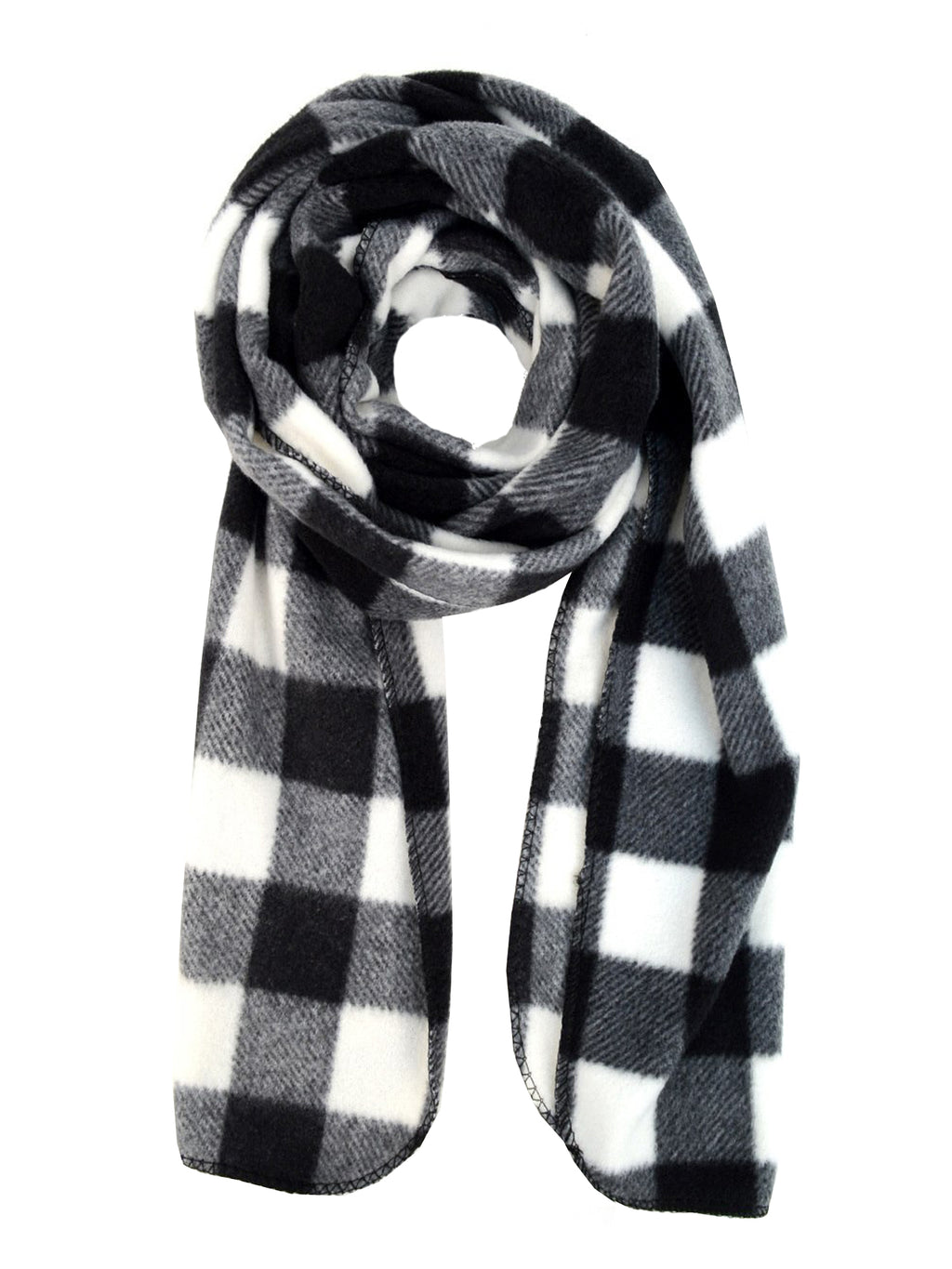 Black & White Plaid Fleece Scarf Glove & Hat Set
