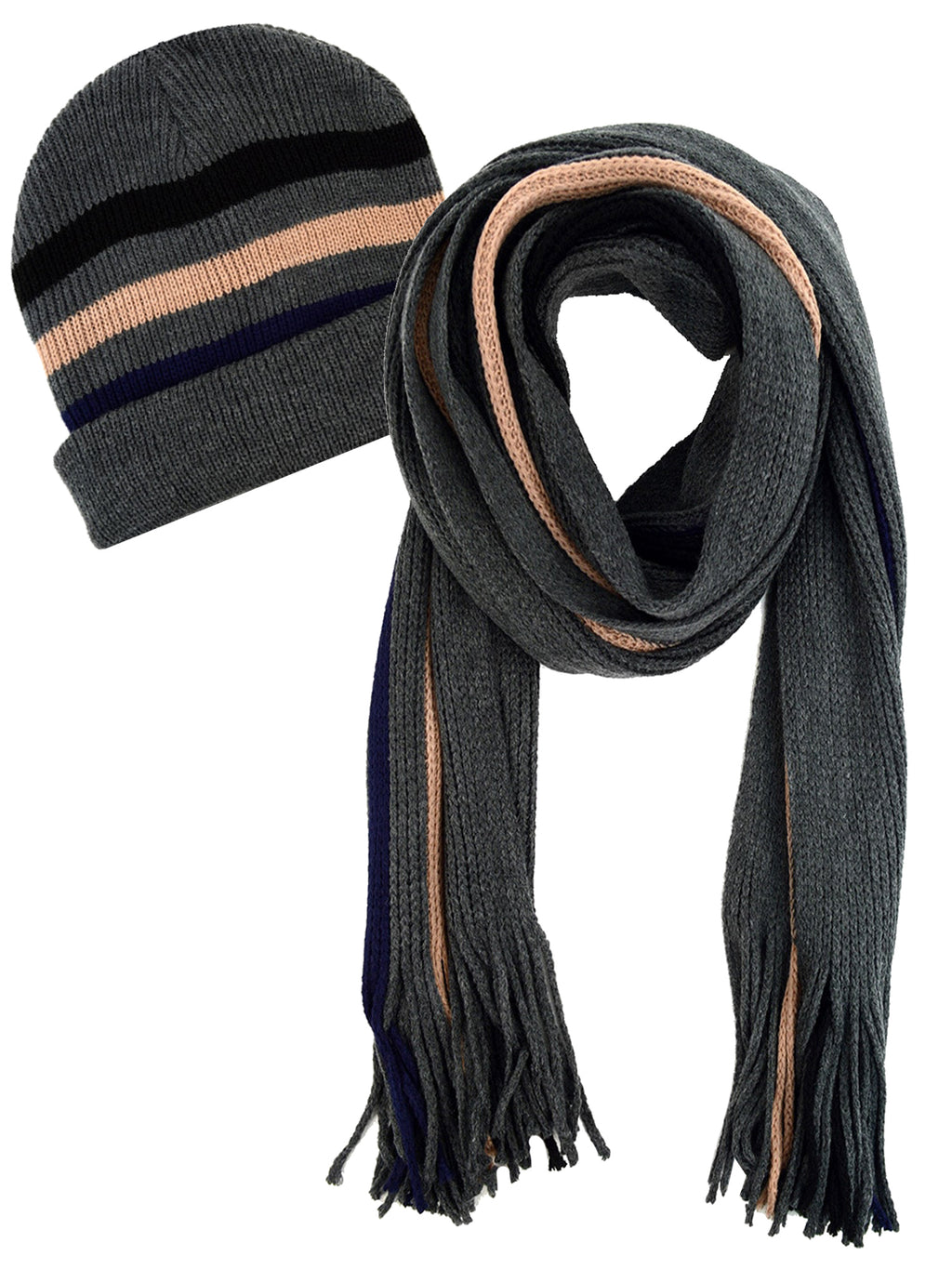 Mens Gray & Beige Knit Winter Scarf & Hat Set