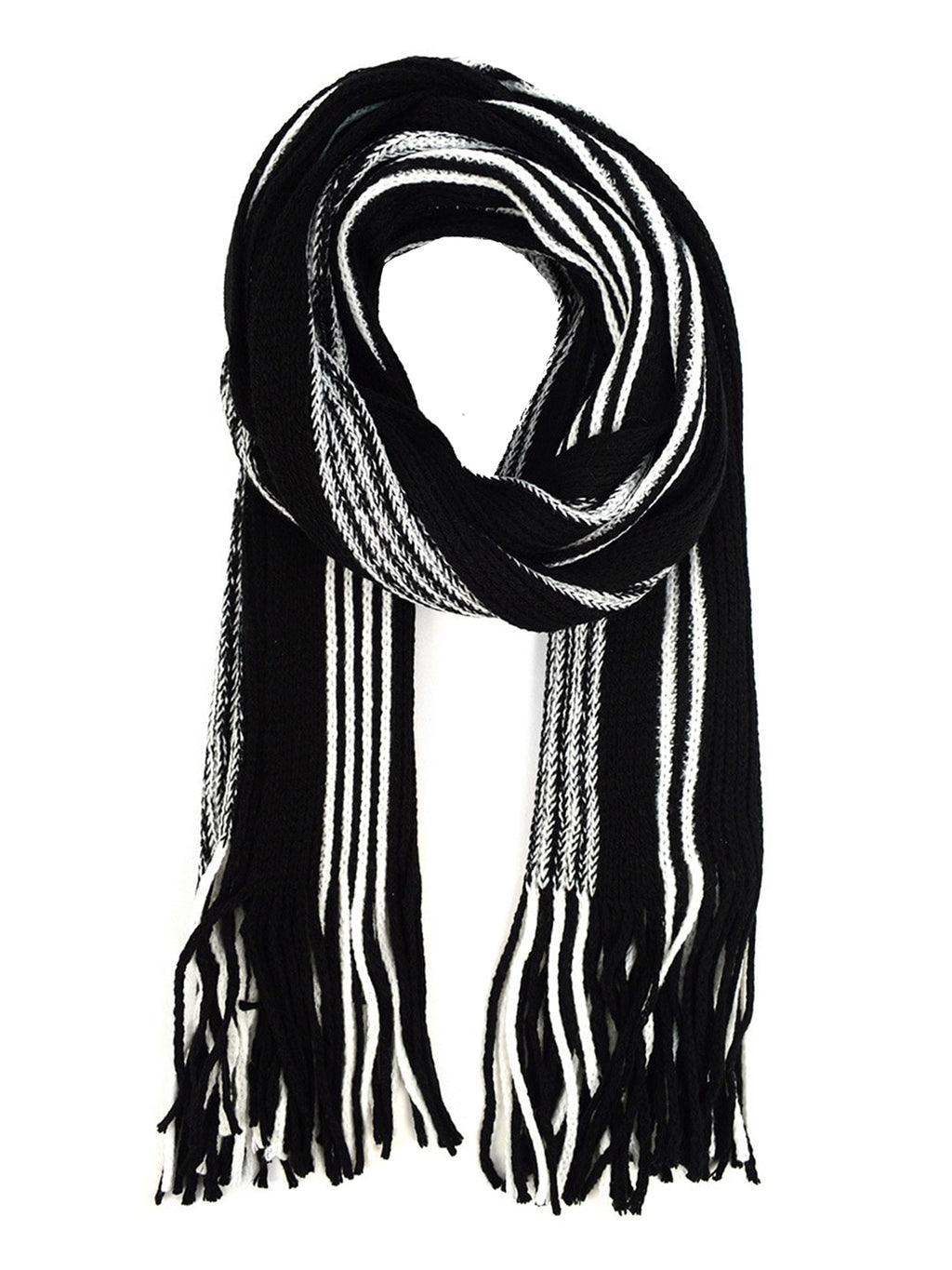 Mens Black & White Stripe Knit Hat & Scarf Set