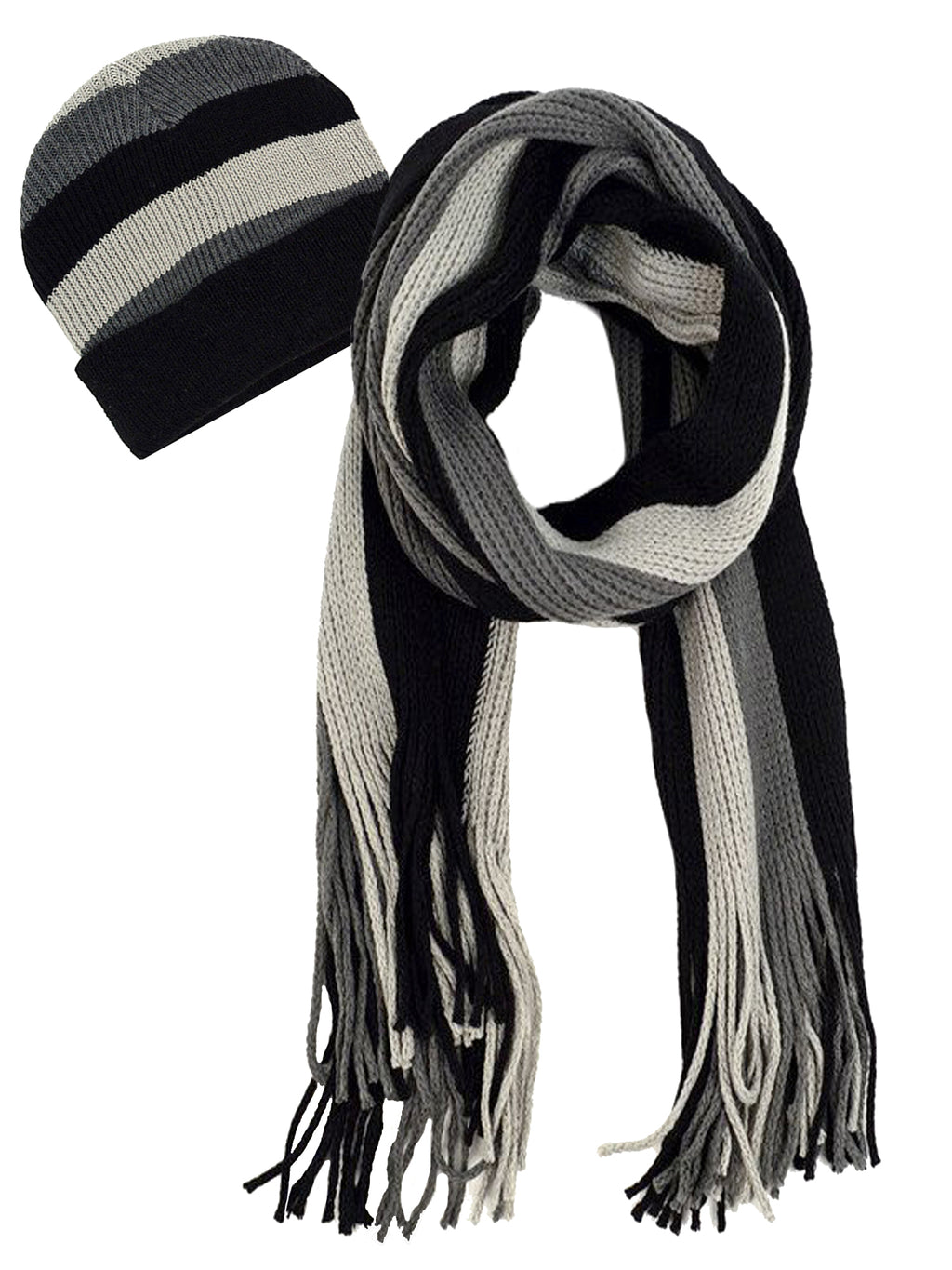 Mens Gray Black & White Stripe Hat & Scarf Set