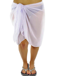Plus Size Sheer White Knee Length Cover Up Sarong