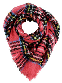 Red Plaid Triangle Scarf With Fringe