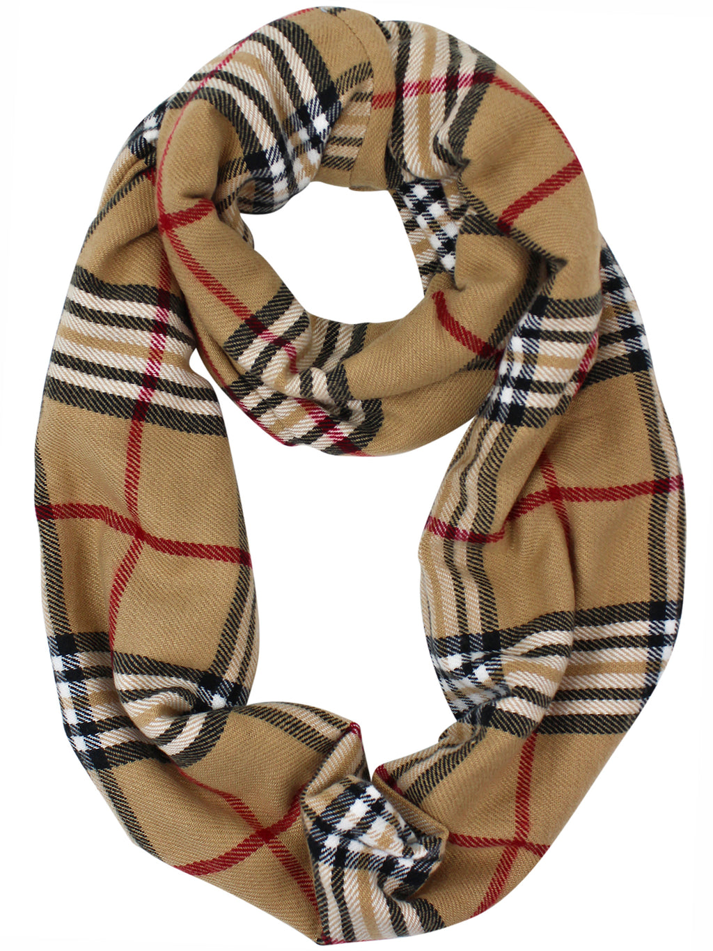 Beige & Tan Plaid Infinity Scarf