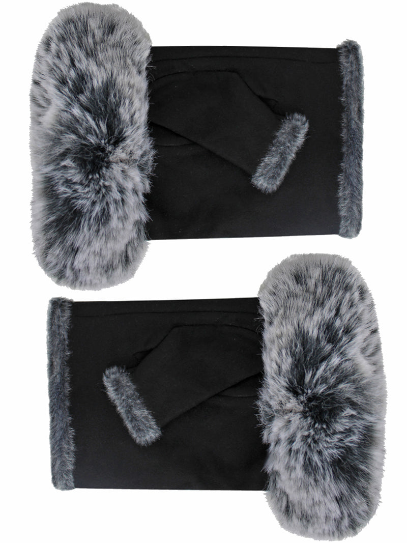 Black Suede Fingerless Gloves With Faux Fur Cuff