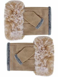 Camel Suede Fingerless Gloves With Faux Fur Cuff